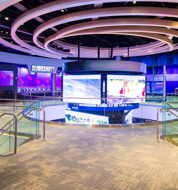 Glasshape NBA Experience Disney Orlando Florida Modern Finishes and Acoustic Ceiling Design