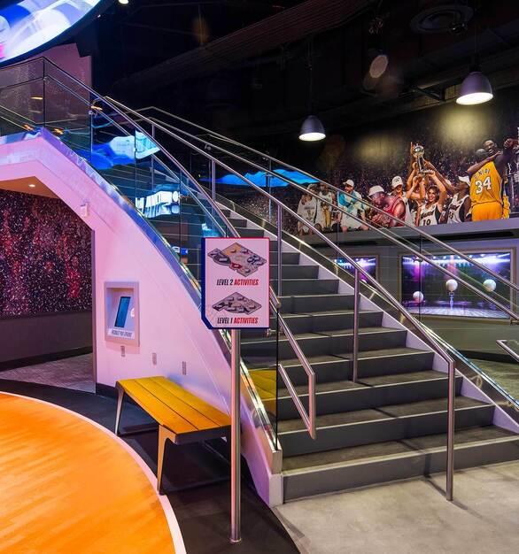 Glasshape NBA Experience Disney Orlando Florida Staircase Glass Railings