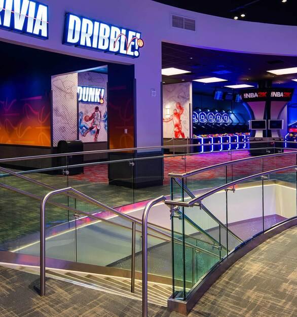 Glasshape NBA Experience Disney Orlando Florida Trivia Dribble Gaming Area