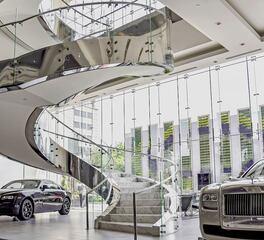Glasshape Rolls Royce Car Dealership Houston Texas Interior Sales Floor Staircase