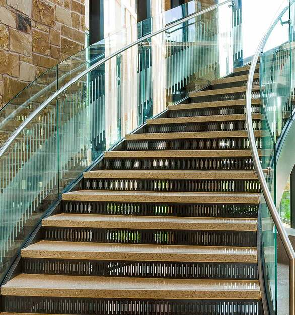 VisionInk® is a great way to add a unique style to your staircase railings. Print any design, from simple lines to detailed imagery. The inks, once toughened (tempered), become a part of the printed glass itself, providing unmatched resistance to scratching, UV light, and weather deterioation.