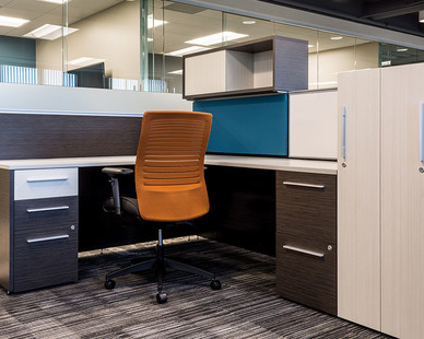 Desks, seating, and tables all provided by Global Furniture Group. Shown here at Aaron Rents Offices.
