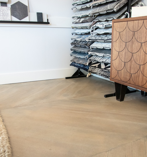 Granicrete used their floor base blend for both the base and top coats to the flooring. This specific flooring was scored with a herringbone pattern.