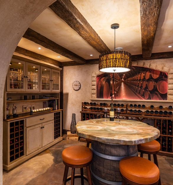 Stunning wine room featuring flooring and table top by Granicrete Minnesota.
