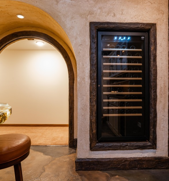 Custom flooring designed by Granicrete Minnesota for this spacious wine tasting room. 