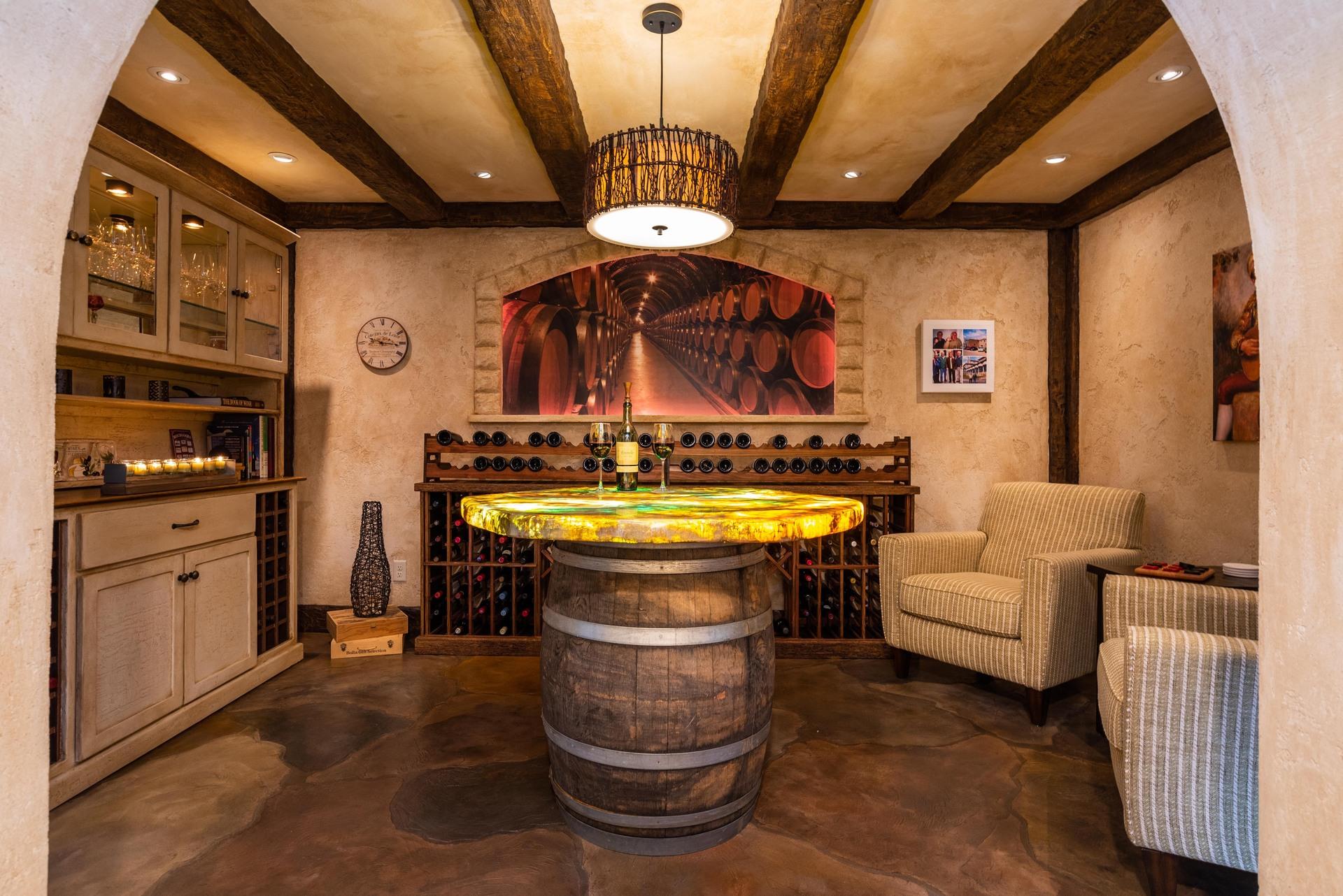 Stunning wine room featuring flooring and tabletop by Granicrete Minnesota.  Photographer: John Walsh