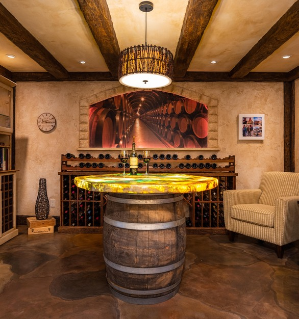 Stunning wine room featuring flooring and tabletop by Granicrete Minnesota.