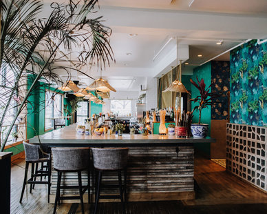 Unique and tropical bar design at the Hai Hai was designed by Wilkus Architects