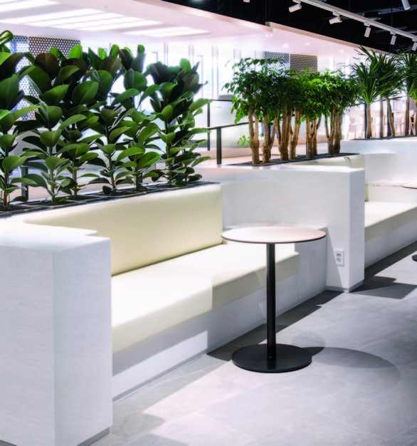 Clean, modern cafe seating using Hanex Solid Surfaces by Hyundai L&C USA.