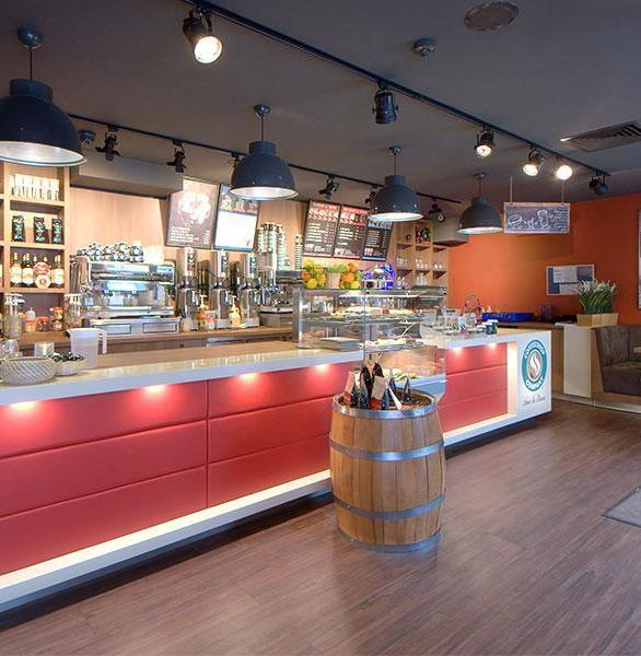 Incorporate Hanex solid surfaces into your next cafe interior project. There are a variety of styles to choose from that would suit any design and finish.