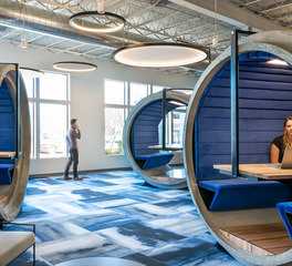 Hanging Pendant Lights in Open Office Lounge and Workspace