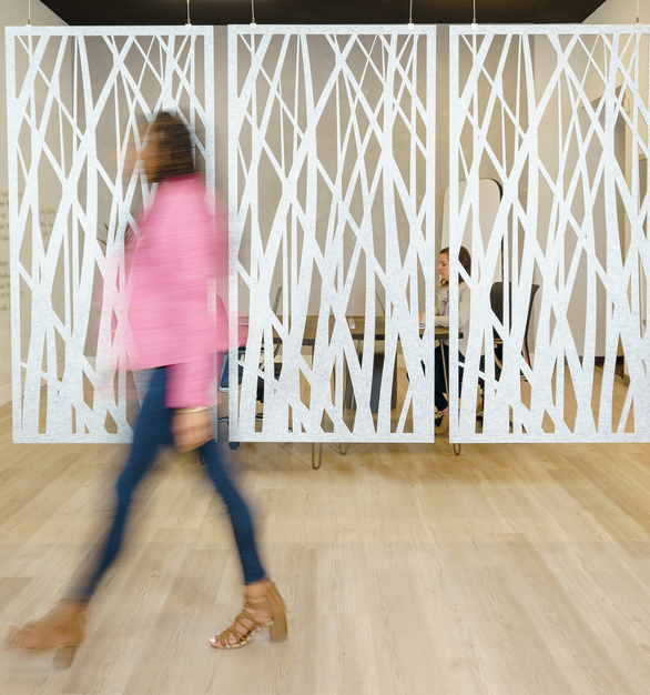 With custom and standard designs to enhance your workspace, MPS Acoustic hanging wall panels provide sound absorption and ambient noise reduction within the room.