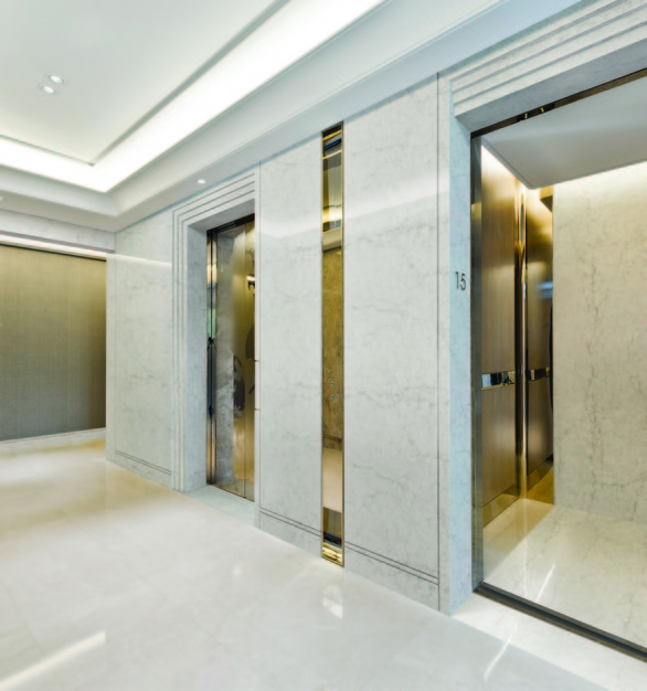 Elevated the finish of your elevator lobby with HanStone Quartz by Hyundai L&C USA.