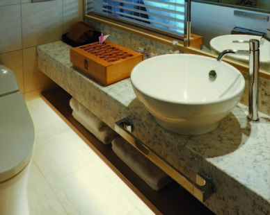 Choose high-quality finishes from HanStone Quartz by Hyundai L&C USA for your next bathroom project.