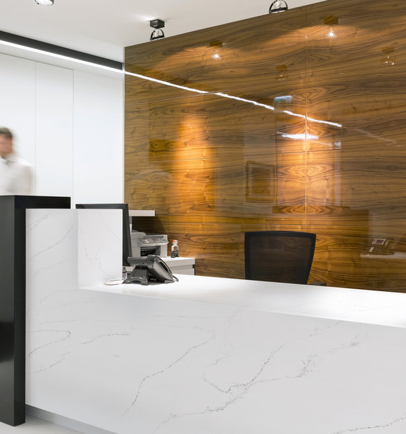 Versatile in application, HanStone Quartz products are your first pick in creating an eye-catching reception desk, or any other countertop application.