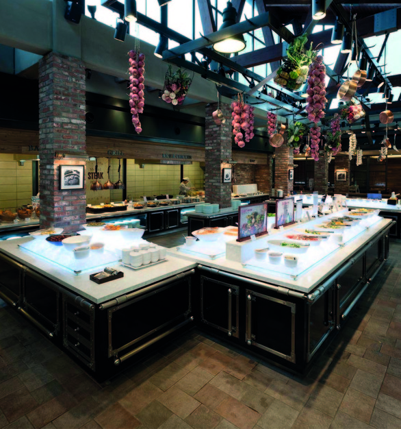 The buffet bar at VIPS Garden in Seoul, Korea using HanStone Quartz by Hyundai L&C USA.