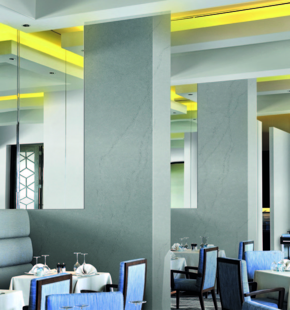 Step up your restaurant dining area design with HanStone Quartz products by Hyundai L&C USA.