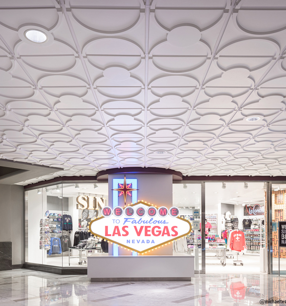 The Cloverleaf Ceiling Tile, TL-0083 and the Cloverleaf Flat Center Ceiling Tile, TL-0084 make an appearance on the Las Vegas strip. The colorful Vegas lights reflecting off the curved design elements enliven the ceilings at Harrah's Las Vegas.