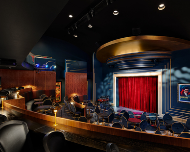 The 120-seat Harry Blackstone Cabaret Theater features an unobstructed view from every section. The cabaret-style seating, with elevated rail and banquette areas on the main floor, allow for  maximum access to view the stage.