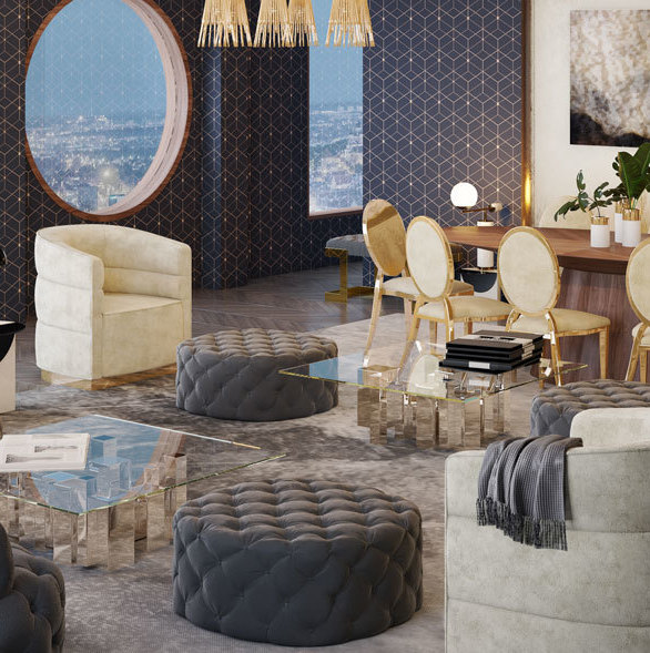 MEF Contract has some of the most beautiful furniture. This project pairs the Harvard chairs, Cloud Sofa, Glamour shelves, along with the Abbey table lamp for this hotel lounge.