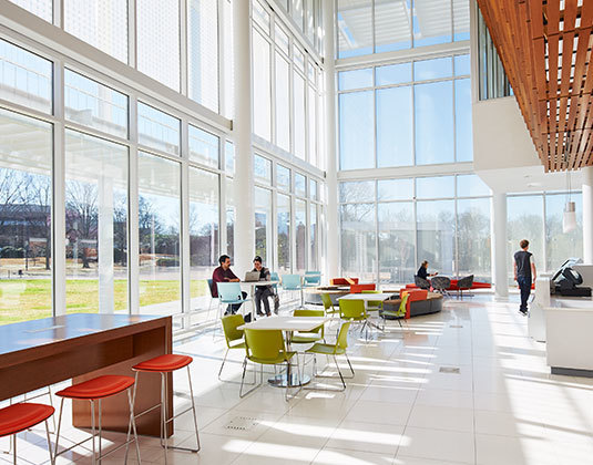 Watt Family Innovation Center cafe, providing alternate space for students, faculty and visitors to touch base, recharge and connect.