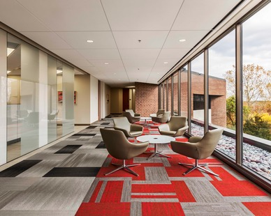 Gathering areas with a view at the CPG Corporate Office in Shoreview, Minnesota, by HCM Architects.