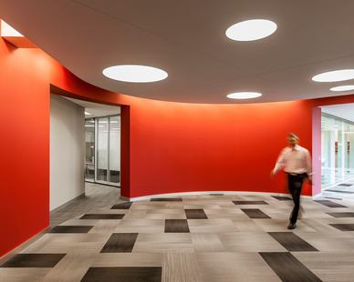 An eye-catching color scheme brings life and energy to any space at the CPG Corporate Office in Shoreview, Minnesota, by HCM Architects.