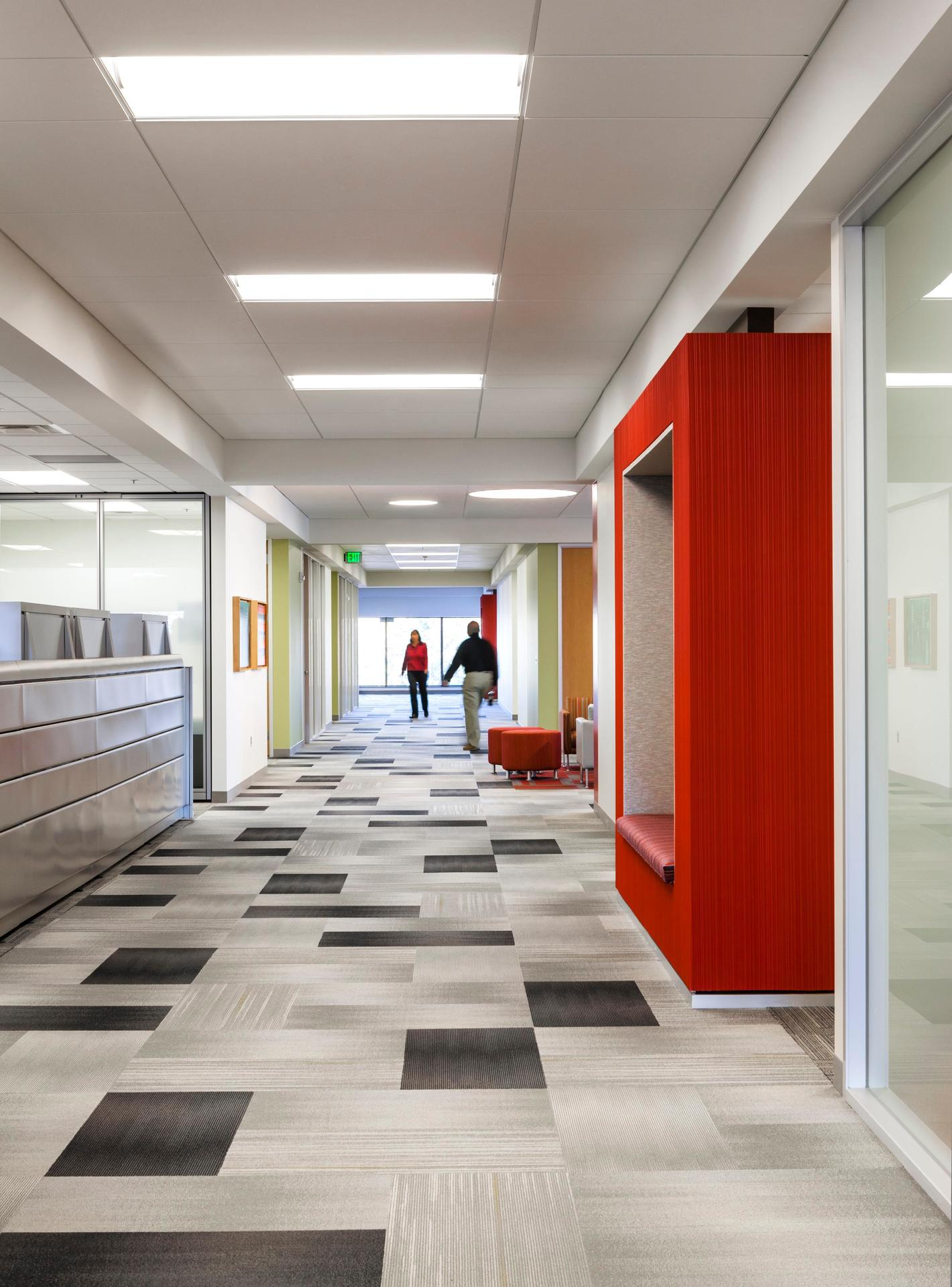 The large office hallway at CPG Corporate office in Shoreview, Minnesota, by HCM Architects.