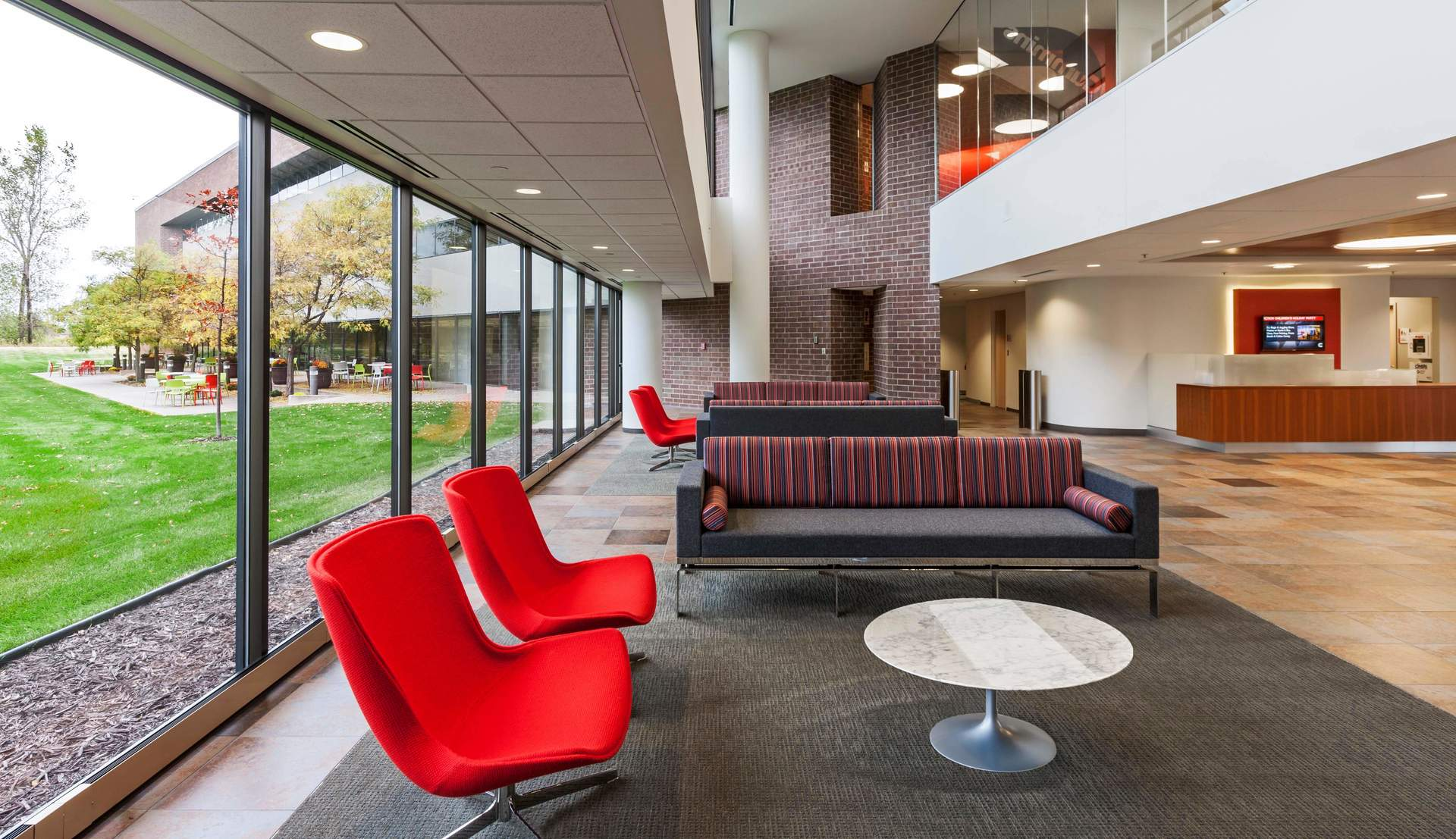 The large lobby and reception area at the CPG Corporate Office in Shoreview, Minnesota, by HCM Architects.