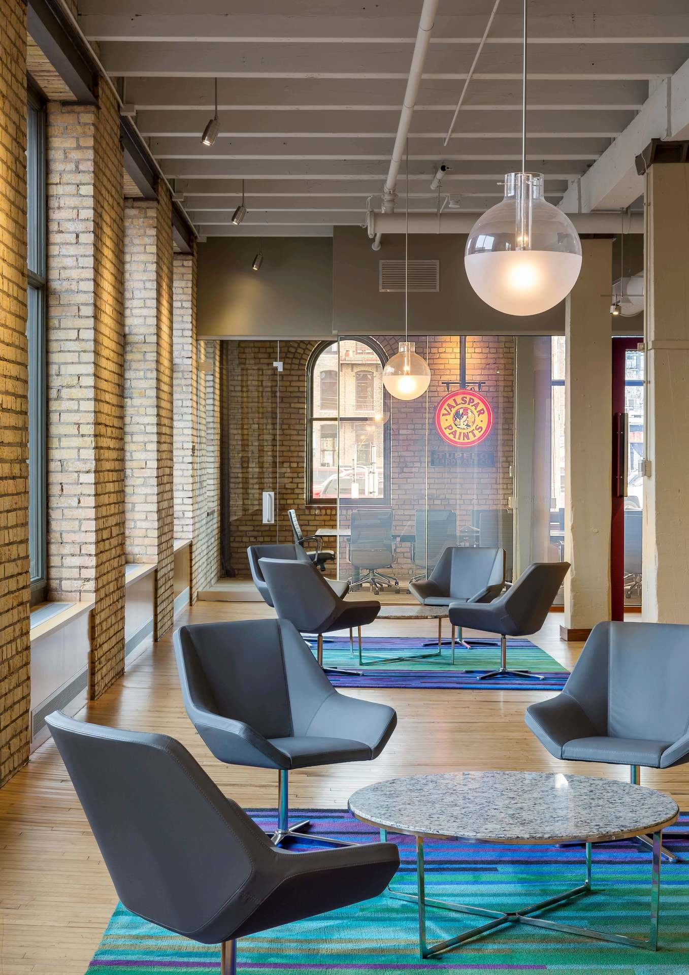 The welcoming and comfortable commons at Valspar in Minneapolis, Minnesota, by HCM Architects.