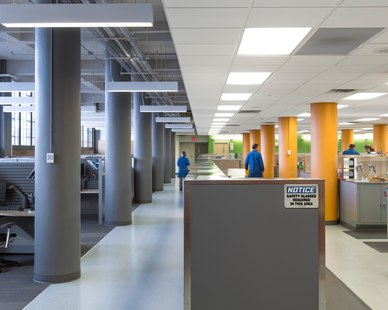 The open office space at Valspar in Minneapolis, Minnesota, by HCM Architects.