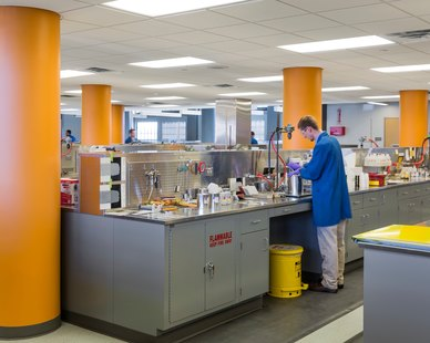 The open lab design at Valspar in Minneapolis, Minnesota, by HCM Architects.