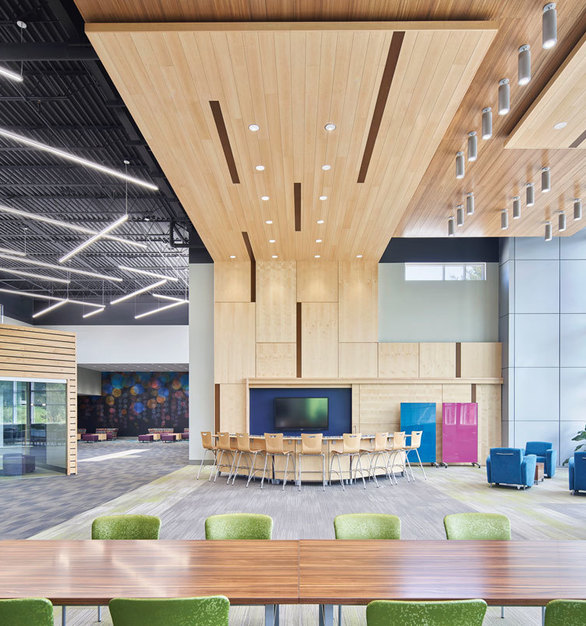 Bright and energy-filled interiors encourage healthy workplace environments everyone can enjoy. We provided our MX2, LC6, 6DR luminaires to match the overall design of this common area.