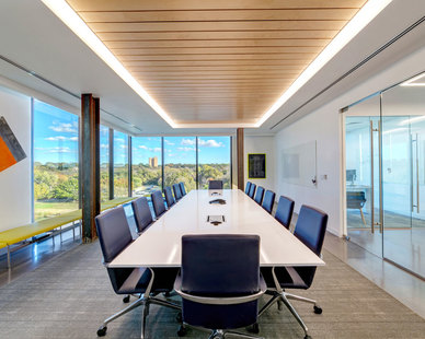 The Bios Partners conference room features the CX Continuous Cove indoor luminaire that provides ample lighting while adding a modern touch to the space. The CXC provides soft, uniform, illumination for contractor and extruded coves.