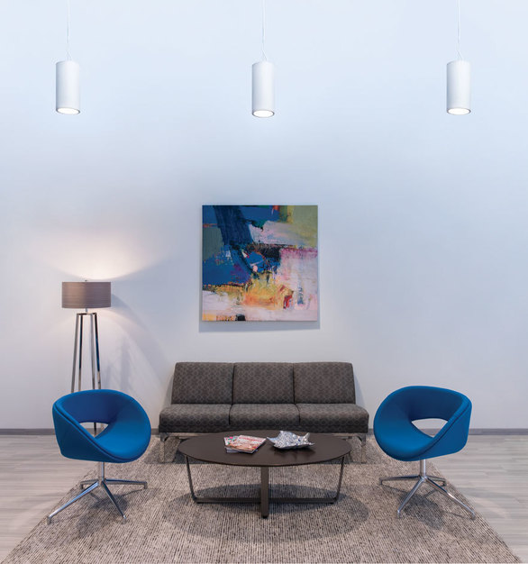 Featuring the LC7 cylinder lighting fixture at the Waco Title offices. Designed for architectural interiors such as museums, lobbies, churches, and universities, the LED cylinders provide versatile down or up/down illumination. For even greater impact and light output, LED Cylinders have the unmatched ability to hub mount groups of fixtures together. With a variety of sizes, colors, and options, the look and feel you can achieve with our
