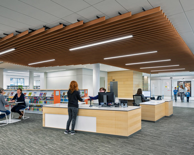 Library interiors can have a modern aesthetic when combining modern finishes with our MX4D lighting fixtures as featured here at the Brambleton Library