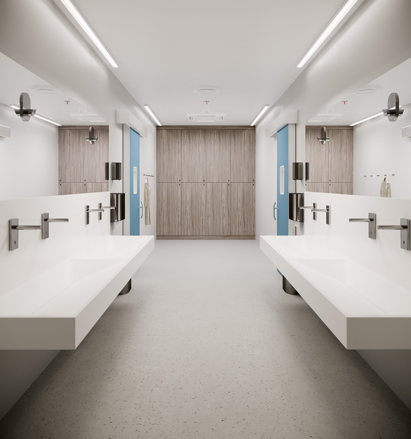 Durasein solid surface material is used for the face of the lockers within this hospital locker room.