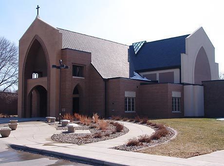 Welcoming entrance at St. Cecelia Church in Ames, Iowa, by Heartland.