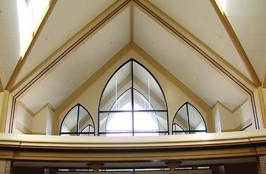 St. Cecelia Church features beautiful peaked ceiling that fills with natural daylight, by Heartland.