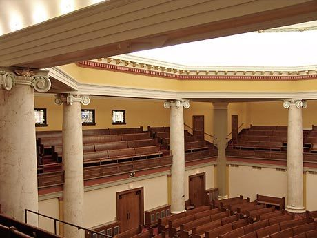 Spacious sanctuary seating at United Methodist Church located in Des Moines, Iowa, by Heartland.