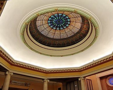 Beautiful stained skylight at United Methodist Church in Des Moines, Iowa, by Heartland.