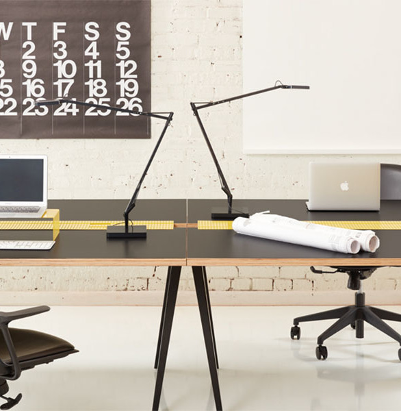 Easy to install, Heartwork's Sawhorse Desk offers flexible cable management, and available in a range of colors, surfaces, and configurations, this is a workhorse that is sure to support the weight of your big ideas.