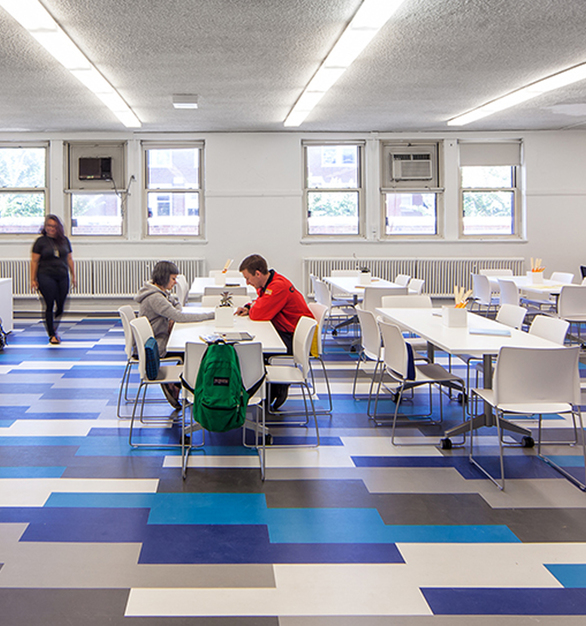 A clean and spacious classroom layout at Sullivan High School in Chicago, Illinois, furnished by Henricksen.