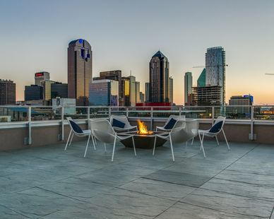 Rooftop terrace with stunning views of downtown Dallas, by Hensley Lamkin Rachel.