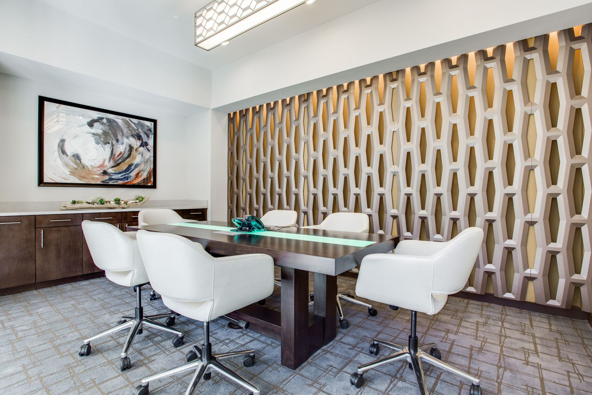 Conference room at the Stella apartments located in Dallas, TX, by Hensley Lamkin Rachel.