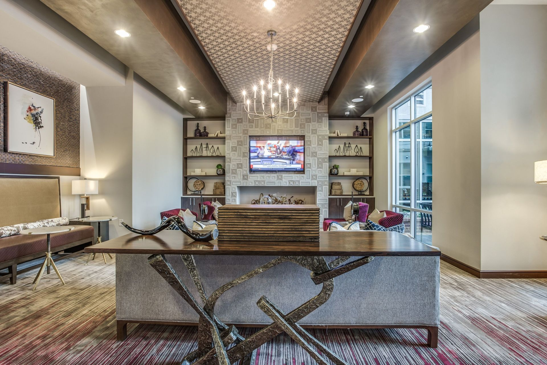 Luxury residence lounge at Stella apartments located in Dallas, TX, by Hensley Lamkin Rachel.