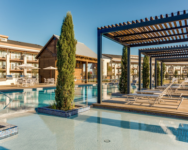 Feel like you're at a resort at all times in your own backyard at this apartment complex, by Hensley Lamkin Rachel.