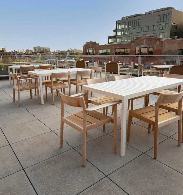 Herman Miller outdoor terrace with STONEWORKS Classic Concrete outdoor panels