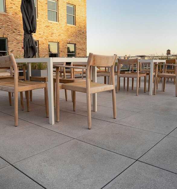 Herman Miller outdoor terrace on STONEWORKS outdoor raised access flooring