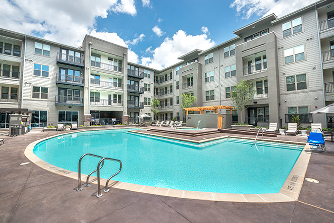 Pool area for neighbors and friends to gather and have fun at Overture in Plano, TX.